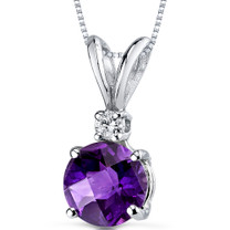 14 kt White Gold Round Cut 1.00 ct Amethyst Pendant P8962