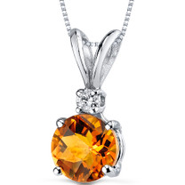 14 kt White Gold Round Cut 1.00 ct Citrine Pendant P8964