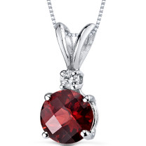 14 kt White Gold Round Cut 1.50 ct Garnet Pendant P8966