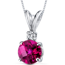 14 kt White Gold Round Cut 1.50 ct Ruby Pendant P8976