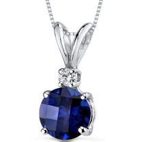 14 kt White Gold Round Cut 1.50 ct Blue Sapphire Pendant P8978