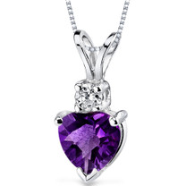 14 kt White Gold Heart Shape 0.75 ct Amethyst Pendant P8988