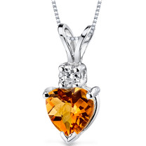 14 kt White Gold Heart Shape 0.75 ct Citrine Pendant P8990