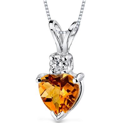 14 kt White Gold Heart Shape 0.75 ct Citrine Pendant P8990