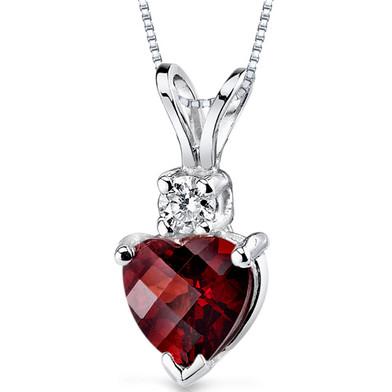 14 kt White Gold Heart Shape 1.50 ct Garnet Pendant P8992