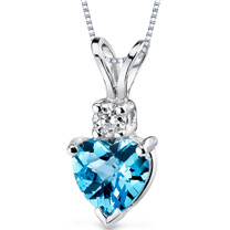 14 kt White Gold Heart Shape 1.00 ct Swiss Blue Topaz Pendant P8998