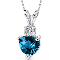 14 kt White Gold Heart Shape 1.00 ct London Blue Topaz Pendant P9000