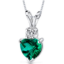14 kt White Gold Heart Shape 0.75 ct Emerald Pendant P9010