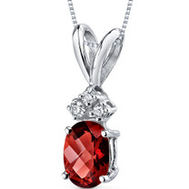 14 kt White Gold Oval Shape 1.00 ct Garnet Pendant P9018