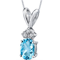 14 kt White Gold Oval Shape 1.00 ct Swiss Blue Topaz Pendant P9024