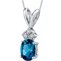 14 kt White Gold Oval Shape 1.00 ct London Blue Topaz Pendant P9026