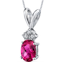 14 kt White Gold Oval Shape 1.00 ct Ruby Pendant P9028