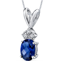 14 kt White Gold Oval Shape 1.00 ct Blue Sapphire Pendant P9030