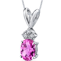 14 kt White Gold Oval Shape 1.00 ct Pink Sapphire Pendant P9032