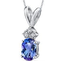 14 kt White Gold Oval Shape 1.00 ct Alexandrite Pendant P9034