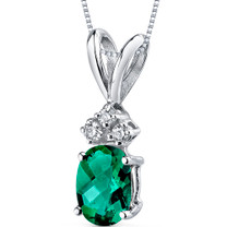 14 kt White Gold Oval Shape 0.75 ct Emerald Pendant P9036