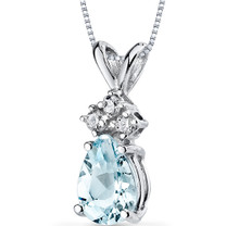 14 kt White Gold Pear Shape 0.50 ct Aquamarine Pendant P9038