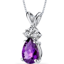 14 kt White Gold Pear Shape 0.50 ct Amethyst Pendant P9040