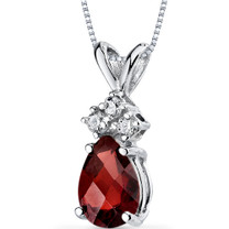 14 kt White Gold Pear Shape 1.00 ct Garnet Pendant P9044