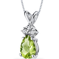 14 kt White Gold Pear Shape 0.75 ct Peridot Pendant P9046