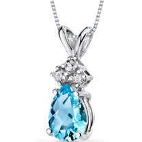 14 kt White Gold Pear Shape 0.75 ct Swiss Blue Topaz Pendant P9050