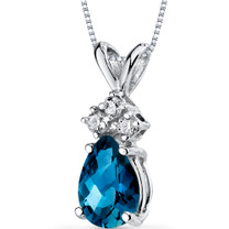 14 kt White Gold Pear Shape 0.75 ct London Blue Topaz Pendant P9052