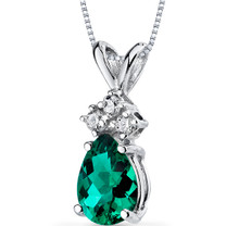 14 kt White Gold Pear Shape 0.50 ct Emerald Pendant P9062