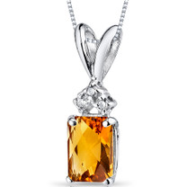 14 kt White Gold Radiant Cut 1.00 ct Citrine Pendant P9068