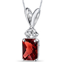 14 kt White Gold Radiant Cut 1.00 ct Garnet Pendant P9070