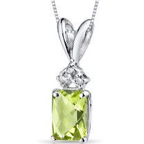 14 kt White Gold Radiant Cut 1.00 ct Peridot Pendant P9072