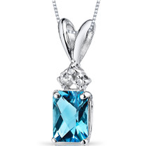 14 kt White Gold Radiant Cut 1.00 ct Swiss Blue Topaz Pendant P9076