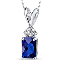 14 kt White Gold Radiant Cut 1.25 ct Blue Sapphire Pendant P9082