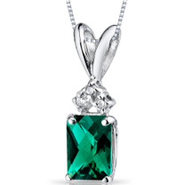 14 kt White Gold Radiant Cut 1.00 ct Emerald Pendant P9088