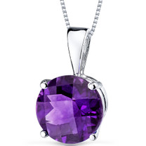 14 kt White Gold Round Cut 1.75 ct Amethyst Pendant P9096