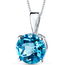 14 kt White Gold Round Cut 2.50 ct Swiss Blue Topaz Pendant P9102