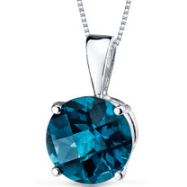 14 kt White Gold Round Cut 2.50 ct London Blue Topaz Pendant P9104