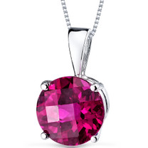 14 kt White Gold Round Cut 2.50 ct Ruby Pendant P9106