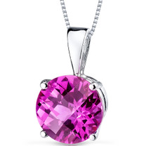 14 kt White Gold Round Cut 2.50 ct Pink Sapphire Pendant P9110