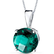 14 kt White Gold Round Cut 1.75 ct Emerald Pendant P9114
