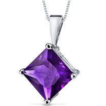 14 kt White Gold Princess Cut 2.00 ct Amethyst Pendant P9116