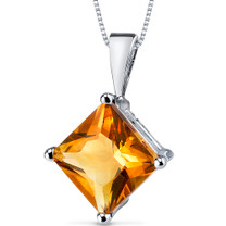 14 kt White Gold Princess Cut 2.25 ct Citrine Pendant P9118