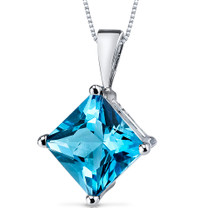 14 kt White Gold Princess Cut 3.00 ct Swiss Blue Topaz Pendant P9122