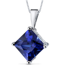 14 kt White Gold Princess Cut 3.50 ct Blue Sapphire Pendant P9128