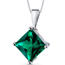 14 kt White Gold Princess Cut 2.25 ct Emerald Pendant P9134