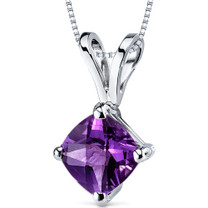14 kt White Gold Cushion Cut 0.75 ct Amethyst Pendant P9138