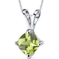 14 kt White Gold Cushion Cut 1.00 ct Peridot Pendant P9144