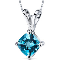 14 kt White Gold Cushion Cut 1.00 ct Swiss Blue Topaz Pendant P9148
