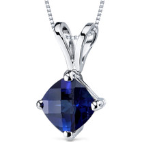 14 kt White Gold Cushion Cut 1.00 ct Blue Sapphire Pendant P9154