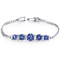 5.00 ct Round Cut Alexandrite Bracelet in Sterling Silver SB4292