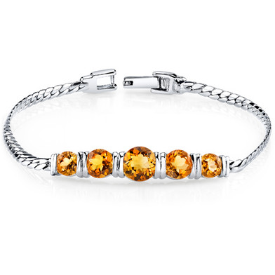 3.75 ct Round Cut Citrine Bracelet in Sterling Silver SB4294